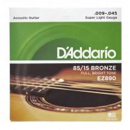 D'ADDARIO EZ890 AMERICAN BRONZE CORDIERA PER CHITARRA ACUSTICA 80/15 BRONZE WOUND SUPER...